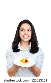 young woman hold delicious piece of cake think look up to empty copy space, female happy smile, isolated on white background food concept