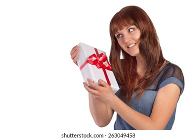 Young woman hold gift