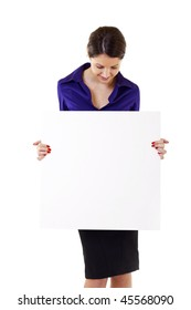 Young woman holding blank sign isolated on white