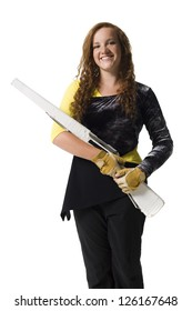 Young woman holding ceremonial rifle