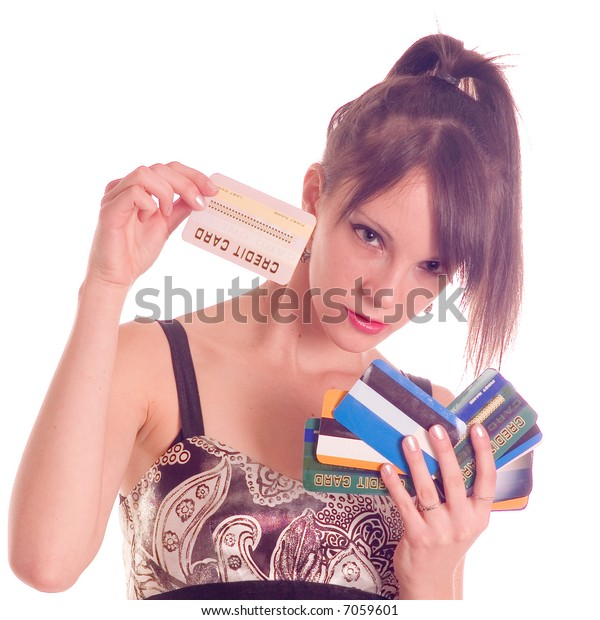 Young woman holding credit card, numbers are made up