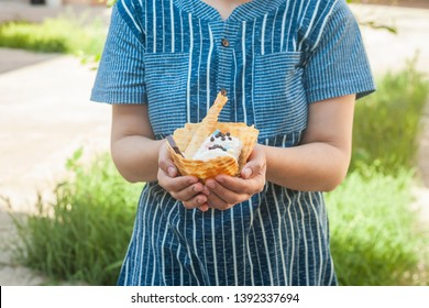 Young woman holding delicious ice cream with waffle during a picnic at nature. Summer food concept. Young adult eating yummy ice cream with a stick on a bright summer day