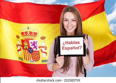 Young Woman Holding Digital Tablet Asking Do You Speak Spanish