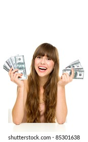 Young woman holding dollar bills