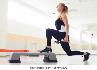 Young woman holding dumbbells while being in squat position in a health club. Fitness, sport, training, gym and lifestyle concept