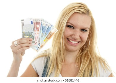 Young woman is holding euro money isolated on white background