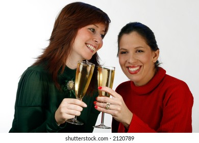 A young woman holding a glass of champagne
