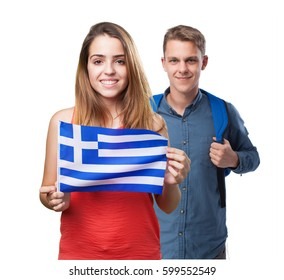 young woman holding a greece flag on white