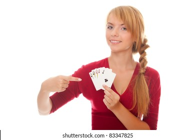 young woman holding in hand poker card of Full House isolated on the white background
