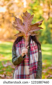 Young woman with a holding a maple leaf in front of her face.
