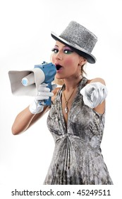 young woman holding a megaphone and pointing her finger to the camera