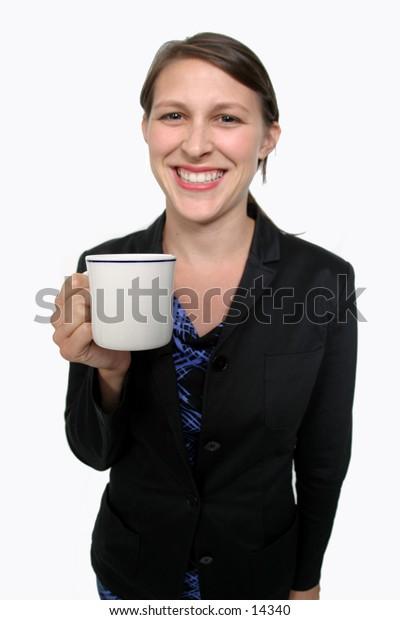 young woman holding mug