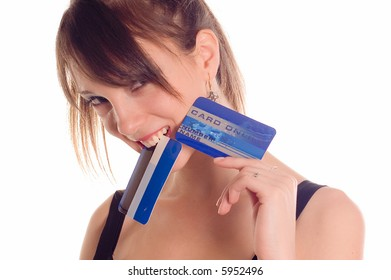Young woman holding online credit cards on white backgrounds