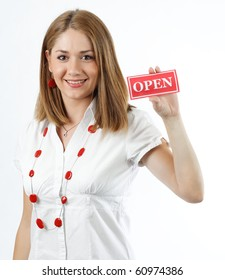 young woman holding open sign,isolated on white