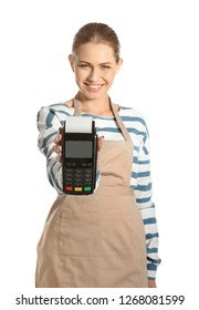 Young woman holding payment terminal isolated on white