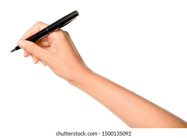 Young woman holding pen on white background, closeup - Shutterstock ID 1500135092