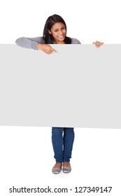 Young Woman Holding Placard. Isolated On White