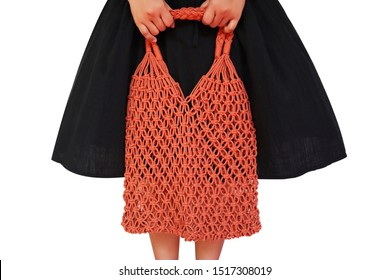 Young woman holding Reusable string shopping eco mesh bag Isolated on wgite background. Concept no plastic, zero waste and eco frendly.