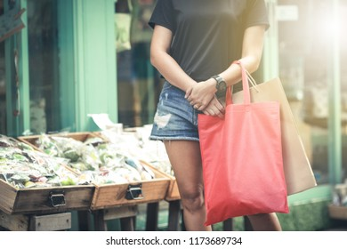 Young woman holding shopping bags   Bag shopping concept