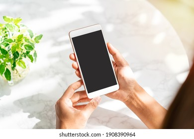 Young woman holding and using smart phone in coffe shop