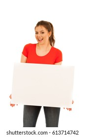 young woman holding white board isolated over white background