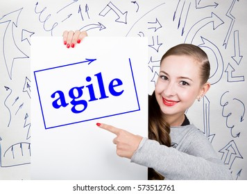 Young woman holding whiteboard with writing word: agile. Technology, internet, business and marketing.