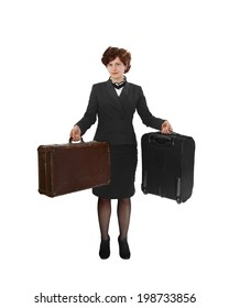 Young woman holds vintage and modern suitcases in hands isolated on white background
