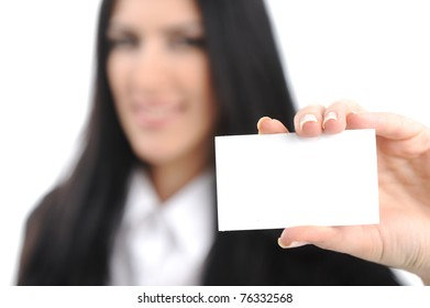 young woman with horizontal bussiness card against white background