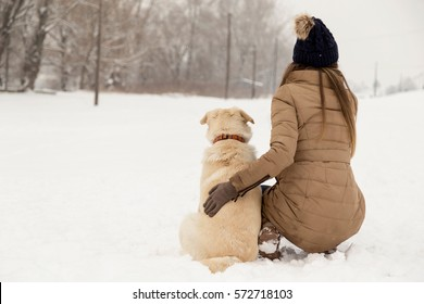 Young woman hugging her dog in the snow while both are looking away from the camera