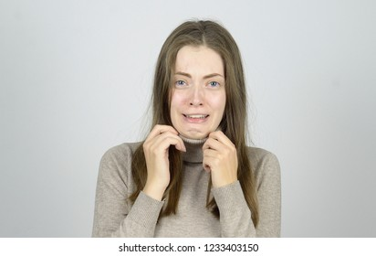 young woman in hysterics