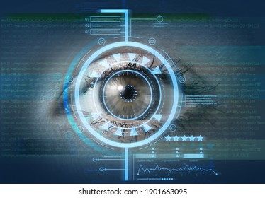 Young woman with iris scanning, closeup. Concept of cyber security
