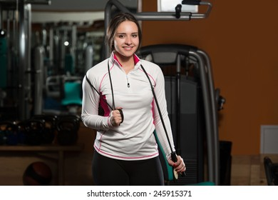 Young Woman With Jumping Rope - Cardio Time