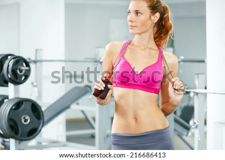 Young Woman Jumping Rope Her Hand Stock Photo (Edit Now