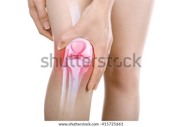 年轻女子膝盖疼痛隔离在白色