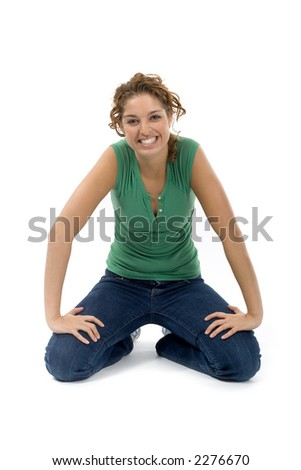 young woman kneeling on ground stock photo edit now 2276670