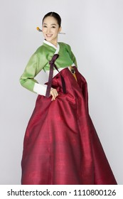 young woman in korean traditional clothing, hanbok