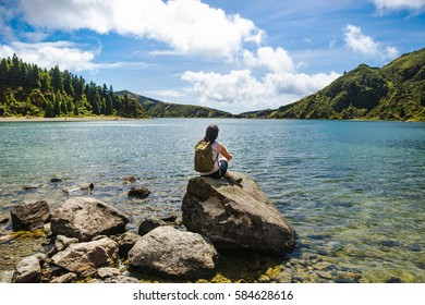 Young woman at Lagoa do Fogo, Azores, Portugal