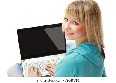 A young woman with a laptop, isolated on white, from above
