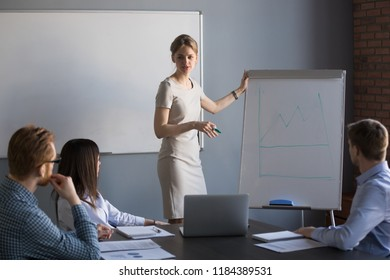 Young woman leader gives presentation to office people group, business coach speaking presenting sales growth strategy at team meeting reporting about project result drawing rising graph on flipchart