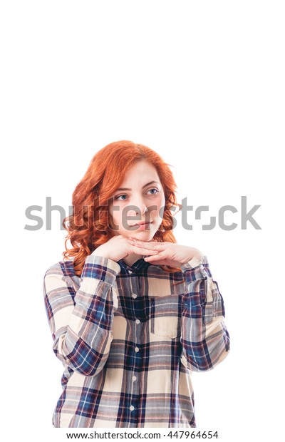 Young woman leaning on her hands, isolated over white background