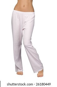 young woman legs wearing pajama pants isolated on white background