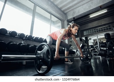 Young woman lifting a barbell at the gym. fitness, sport, powerlifting and people concept - sporty woman exercising with barbell in gym