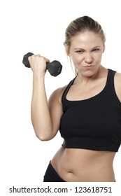Young woman lifting dumbbell isolated over white background