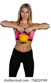 Young woman lifting kettlebell weights, shot on a white background