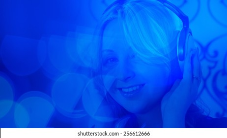 Young Woman Listening Music Background Stock Photo (Edit Now