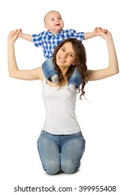 Young woman with little boy isolated