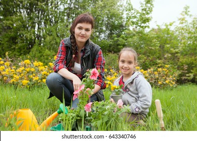 young woman and little girl planting flowers together in their garden.  The girl helping young woman gardening
