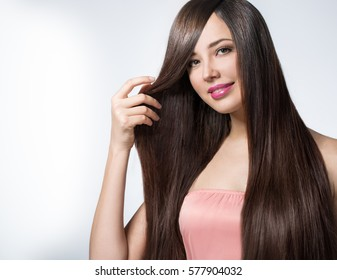 young woman with long beautiful hair