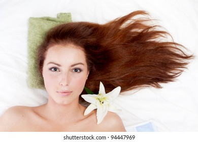 Young woman with long  hair.