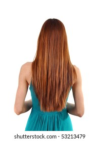 Young woman with long hair from behind, isolated on white